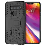 Dual Layer Rugged Tough Case & Stand for LG V40 ThinQ - Black